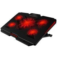 게임 노트북 쿨러 5pcs LED 팬 냉각 패드 홀더 조절 가능한 침묵 노트북 스탠드 패드
