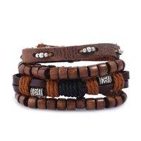 Charm Bracelets 4pcs set Punk Dark Brown Leather Cord Wrap Bead Tube Wood Beads Layers Bangles Unisex Jewelry