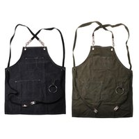Aprons Chef Apron Cotton Canvas Cross Back Adjustable With Cooking Baking Bib Strap And Large Pockets