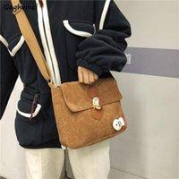 Evening Bags Shoulder Women Harajuku Horn Button Vintage Corduroy Cross-body Students Flaps Kawaii Panelled Korean Style Fresh Handbags