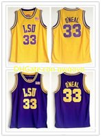 NCAA College LSU Tigers # 33 Shaq O'Neal Basquete Jersey Shaquille Oneal Costurado Vintage Camisas