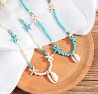 Bohemian Handmade Natural Stone Beaded Pendent Necklaces White Turquoise Starfish Shell Necklace Choker for Women Fashion Beach Jewelry