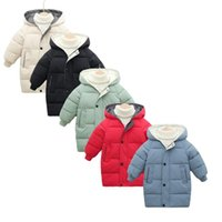 Down Coat Thicken Warm Kids Winter Baby Hooded Parkas Long Version Jacket Parka Outerwear Children Clothing 2-10Y