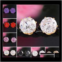 Boucles d'oreilles pour femme Mariage Strass pierre Gemstone Cristal Cristal Boucles d'oreilles Coréen Mode Bijoux Plaqué Zircon PS1552 KR4UY ANW02