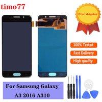 TFT Brillo Ajuste los paneles táctiles del teléfono celular para Samsung Galaxy A310F A310M A310Y A310FD Pantalla LCD A310FD 100% TESTSD Pantalla de trabajo Digitalizador Reemplazo