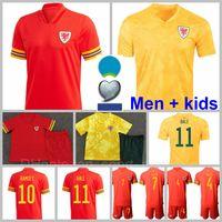 2021 Ulusal Takım Galler Futbol Forması 11 Gareth Balya 10 Aaron 19 Brooks 18 Vokes 4 Davies 16 Wilson 6 Williams 1 Hennessey Futbol Gömlek Kitleri Kırmızı Sarı Erkekler Çocuklar Gençlik