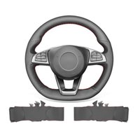 DIY Hand Stitched Soft Non-slip Black Leather Steering Wheel Cover For Mercedes Benz W205 C117 X156