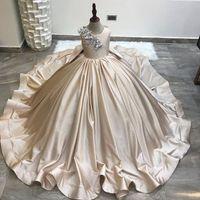 2021 champanhe laço pérolas cetim flor sem encosto menina vestidos moda tule elegante liltle crianças aniversário de aniversário vestidos de casas