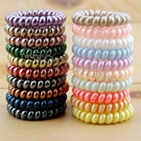 New Women Scrunchy Girl Hair Coil Rubber Hair Bands Ties Rope Ring Ponytail Holders Telephone Wire Cord Gum Hair Tie Bracelet CY13
