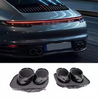 Pair Black Silver Stainless Steel Car Muffler Exhaust Tips For Porsche Carrera 911 Double Nozzles Rear Pipe
