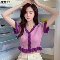 Moda kısa kollu ins net ünlü girly kontrast renk üst yaz yüksek bel kırılmış kısa örme t-shirt jxmyy kadınlar