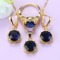 Venda Exclusiva Rodada Jóias Azul Conjuntos Semi-Preciosa Pedras Cor Africana Mulheres Africanas Acessórios de Casamento 9-Color Bridal Set Brincos Neckl