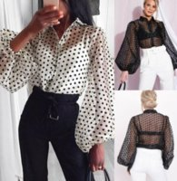 Fashion Trend Women Casual Polka Dot Long Puff Sleeve Shirts Tops Ladies Baggy Loose Unique Design Spring Summer New ZHL6845