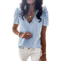 Women's T-Shirt Casual Women Short Sleeve Ruffle Blouse Shirt Elegant Plaid Printed V-neck Tops 2021 Summer Female Fashion Pullover Blouses