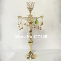Party Decoration Tall Crystal Chandelier Stand, Silver Gold Iron Flower Stand For Wedding Aisle Decor