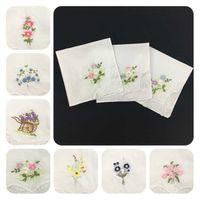 28 cm 60 örgü pamuk kadın işlemeli ter mendil dantel mendil multi çiçek karışık işlemeli beyaz mendil