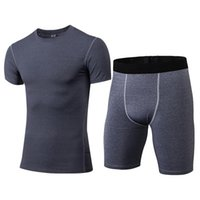 2piece Set Men Black Gray Short Sleeve T-shirt And Shorts XXXL Polyester Sweat Sportwear Suits For Mens Tracksuit Tight Suit Gym Clothing