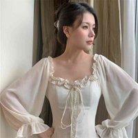 Francés fuera del hombro vestido elegante blanco otoño mujeres vendaje retro fiesta mini vestido dama diseñador vestido mujer ropa 210806