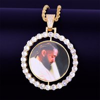 Custom Made Photo Rotating double-sided Medallions Pendant Necklace cuban LINK Chain Zircon Men's Hip hop Jewelry 2x1.65 inc 71 K2