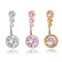 Anelli dell'ombelico zircone per le donne Girls Four Gem Gem Bottone Body Body Piercing Jewellery