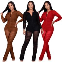 Designers Women black Clothes 2021 fashion sexy mesh pleated micro pull pants wear clubwear jumpsuits amp rompers