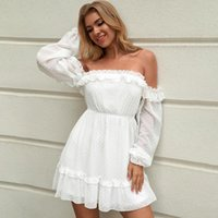 Casual Dresses Elegant Graduation Party Gown Homecoming Dress Off The Shoulder Cocktail Long Sleeves Short Mini Point