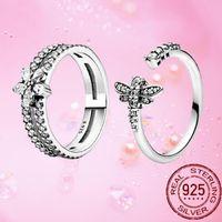Cluster Ringe Klassische 100% 925 Sterling Silber Original Princess Tiara Libelle Funkelnde CZ Für Frauen Engagement Schmuck Jubiläum
