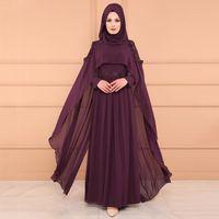 Casual Dresses Muslim Abaya Dress Woman Vintage Islamic Clothing Elegant Lace Pleated Kaftan Dubai Turkish Long Sleeve Party