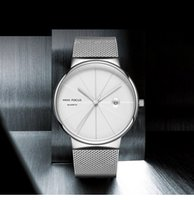 Mens Watches Fashion Minimalist Quartz Analog Date Watch with Stainless Steel Mesh Band Water Resistant Gents Wrist Watch