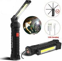 Taşınabilir 5 Modu COB Fener Gadget Torch USB Şarj Edilebilir LED Iş Işığı Manyetik Asmak Kanca Açık Kamp Araba Akülü Esnek Muayene Lambası