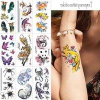 Animal temporary tattoo stickers scorpion Butterfly spider 3d fake tattoo Panda Fox Wolf Color body tattoo sticker for men women