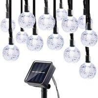 Luces de cuerda LED con energía solar 30 Bulbos Impermeable Bola de cristal Navidad Cadena Camping Iluminación Jardín Fiesta de vacaciones 8 Modos 314 S2