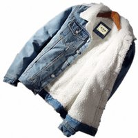 Hombre Chaqueta y abrigo de moda vellón cálido Chaqueta de mezclilla gruesa 2018 Invierno Moda para hombre Jean Outwear Masculino Vaquero más tamaño E0EA #