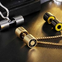 2020 Western Sports Stylish Dumbbell Pendant Necklace Fashion Stainless Steel Jewelry