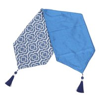 Chair Covers Blue Table Runner 48 Inches Jacquard Coffee With Tassels Dresser Scarf For Home Decor, Party, Wedding