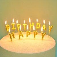 لوازم حفلات احتفالية أخرى كعكة عيد ميلاد سعيد رسالة ذهبية شمعة مذهب الديكور بالجملة