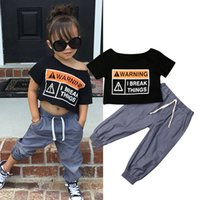 2PCS Toddler Kids Baby Girl Oversized Clothes Sets 2-7Y Crop Tops Long Pants Outfits Tracksuit
