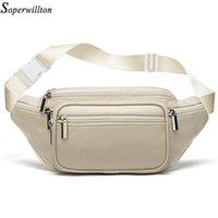 Soperwillton Натуральная кожа талия сумка женщин путешествия овчины пакет черный белый пояс сундук мужчина телефон сумки