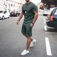 2021 Summer Tracksuits Tendance T-shirt à col rond Jeune costume de sport occasionnel Homme à manches courtes pour hommes