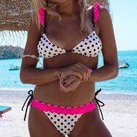Bikinis Women Ruffle Swimsuit Cross Bandage Swimwear Dot Bikini Set Beach Bathing Suit Brazilian Biquni VIP Drop 210624