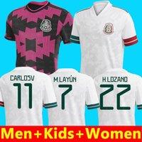2020 المكسيك Soccer Jersey White National 19 20 أسود Chicharito Lozano Guardado Carlos Vela Rauls Football Shirts Kids Fans + إصدار لاعب