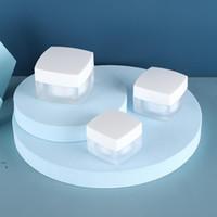 Матовые / четкие квадратные акриловые банки косметические банки с белыми / черными пластиковыми крышками PP Liner 15G 30 50 г бальзам для губ Cream контейнеры OWB5784