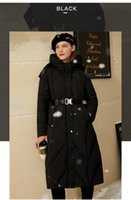 Simple 90 white duck downs collar with hat women's 2021 large warm long coat high quality wholesale Oversized down jacket close waist