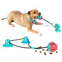 Haustierspielzeug Silicium Saugnapf Tug Push Ball Zahnreinigung Spiel Zahnbürste für große Medium Zubehör Hundefutter