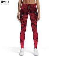 Women's Leggings KYKU Flower Women Red Spandex Casual Sport Womens Pants Fitness Slim Skinny Pencil