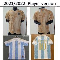 2021 2022 Argentina Azul Jogador de Ouro Versão 21 22 Conceito Jersey Jersey Maradona Distintivo Elementos Dourados Messi di Maria Higuain Icardi Dybala Futebol Camisa