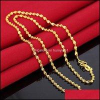المعلقات JewelrySimple سلسلة قلادة فاخرة مجوهرات الزفاف 24 كيلو الذهب معبأ قلادة القلائد للنساء 45CM سلاسل موجة المياه الطويلة
