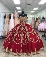 Burgundy Puffy Princess Quinceanera Dresses Off Shoulder Luxury Gold Lace Applique Lace-up Sweet 16 Prom Vestidos de 15 años