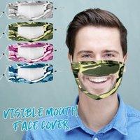 Camouflage Transparent Lip Plaid Anti-fog 8styles Cotton Pet Mask Deaf Mute Designer Masks Soft Anti Dust Mouth Cover Gg