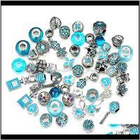 50 unids / lote Crystal Big Hole Agujero suelto Artesanía Spacer EUROPEO Rhinestone Bead Colgante para el collar de la pulsera del encanto Moda Joyería de bricolaje Fabricación de 43ZF7